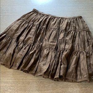 DKNY pure brown boho knee length skirt sz L tiered